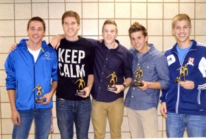 Five individual team awards were presented at the Albert Lea boys' soccer awards banquet on Oct. 28. From left are Hunter Tuveson, Most Valuable Defender; Tim Furland, Most Valuable Forward; Carter Dahl, Most Improved Player; Preston Smith, Overall MVP; and Toby Schmitt, Coach's Award. — Submitted