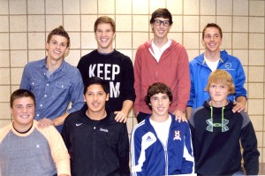 The 2013 Albert Lea boys' soccer team's captains in the back row welcomed next year's captains in the front row at the postseason banquet Oct. 28. Back row from left are Preston Smith, Tim Furland, Tyler Vandenheuvel and Hunter Tuveson. Front row from left are Schafer Overgaard, Porfirio Garcia, Jerry Halstead and Brayden Trail. — Submitted