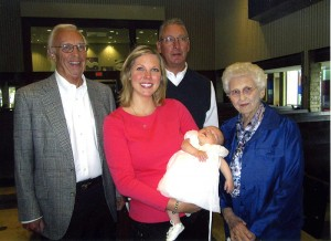 From left great-grandfather, Rex Stotts, mother, Nicole Stotts Thompson, baby Elinor Thompson, grandfather, Mark Stotts, and great-great-grandmother, Elinor Stotts. --Submitted