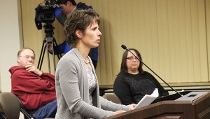 Albert Lea resident Vicki Larson on Tuesday shares information with the City Council on why the skate park should remain at the City Beach. -- Tim Engstrom/Albert Lea Tribune