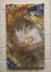 Artist James Peterson said he likes to be creative with vibrant colors and textures in his works.
