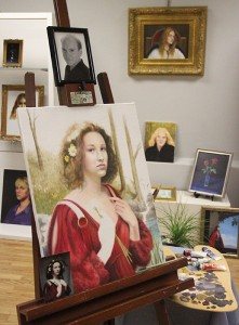 Stephen Froiland, an artist who is now deceased, is featured in the Albert Lea Art Center's latest show. The painting on the easel is an unfinished work by Froiland.