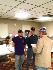 State commander Chuck Jones swears in Ryan Sabinish of Albert Lea as the new commander and Don King of Rochester as sergeant at arms to Rochester chapter 7451 of Military Order of the Purple Heart, also representing purple heart recipients in the Austin and Albert Lea areas. --Submitted