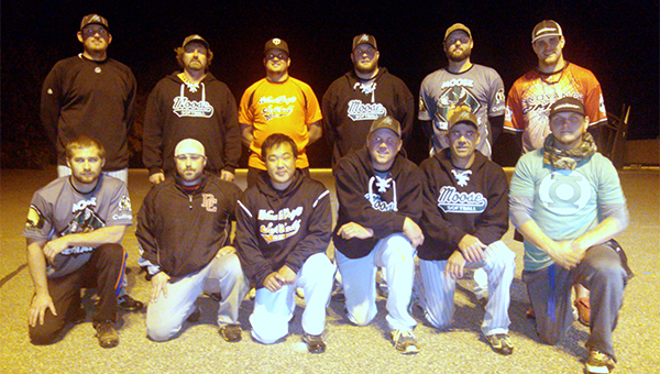 The Moose Merchants were the champion of the Albert Lea Parks and Recreation fall softball league. Front row from left are Jordan Mondeel, Mike Cunningham, Matt Perau, Nate Goodnature, Doug Fink and Pete Korfhage. Back row from left are Greg Schulz, Ron Hansen, Josh Kern, Mike Diemer, Josh Ladwig and Fred Husemoller. Mike Hansen and John Kirby are not pictured. — Submitted