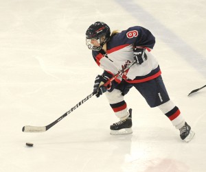 Albert Lea's Haley Larson brings the puck out of the defensive zone Monday night against Waseca. — Drew Claussen/Albert Lea Tribune
