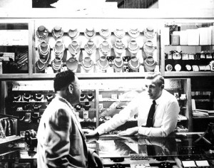Arnold Stadheim, right, is seen here when he first went into the jewelry business in the 1950s. --Submitted