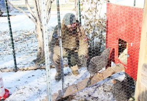 Leo Hendrick crouches in the chicken coop he constructed in his backyard earlier this year.