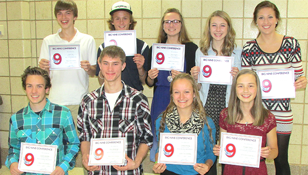 Nine cross country runners from Albert Lea earned Big Nine All-Conference recognition at the team banquet on Nov. 9. Front row from left are Logan Callahan, Blair Bonnerup, Emma Behling and Morgan Haney. Back row from left are Caleb Troe, Jackson Goodell, Anna Englin, Haley Harms and Rachel Kenis. — Submitted