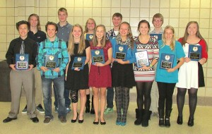 Thirteen senior cross country runners from Albert Lea were honored at the team banquet on Nov. 9. Front row from left are Lawerence Pederson, Logan Callahan, Carol Lein, Morgan Haney, Emma Behling, Rachel Kenis and Aeron Mangskau. Back row from left are Corde Purdie, Brandon Bonnerup, Natalie Peek, Blair Bonnerup, Tyler Egge and Sadie Burnett. — Submitted