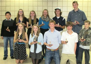 Eleven cross country runners from Albert Lea won awards at the team banquet on Nov. 9. Front row from left are Julissa Gilbertson, captain's award; Haley Harms, coach's award; Jay Skaar, captain's award; Caleb Troe, coach's award; and Caleb Miller, most inspirational runner award. Back row from left are Romario Rosas, coach's award; Anna Englin, MVP; Carol Lein, most inspirational runner; Emma Behling, summer mile award; Jackson Goodell, MVP; and Brandon Bonnerup, summer mileage award. — Eleven cross country runners from Albert Lea won awards at the team banquet on Nov. 9. Front row from left are Julissa Gilbertson, captain's award; Haley Harms, coach's award; Jay Skaar, captain's award; Caleb Troe, coach's award; and Caleb Miller, most inspirational runner award. Back row from left are Romario Rosas, coach's award; Anna Englin, MVP; Carol Lein, most inspirational runner; Emma Behling, summer mile award; Jackson Goodell, MVP; and Brandon Bonnerup, summer mileage award. — Submitted