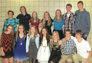 The captains of the Albert Lea cross country team ushered in next year's captains at the team awards banquet on Nov. 9. Next year's captains in the front row from left are Riley Schultz, Anna Englin, Haley Harms, Emily Ortiz, Breanna Himmerich, Connor Larson and Caleb Troe. This year's captains in the back row from left are Logan Callahan, Corde Pudie, Morgan Haney, Carol Lein, Emma Behling, Blair Bonnerup and Brandon Bonnerup. — Submitted