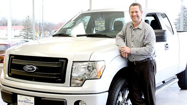 Dave Syverson Auto Center's general sales manager, Kade Vershey, stands next to a Ford F150 STX last Tuesday. The business was named Large Business of the Year at the Albert Lea-Freeborn County Chamber of Commerce membership celebration on Oct. 24. -- Brandi Hagen/Albert Lea Tribune