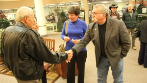 District 27A candidate Peggy Bennett introduces her opponent, Milan Hart, to her parents Monday at Northbridge Mall. Hart and Bennett will vie for the Republican endorsement.