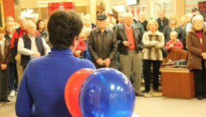 A crowd of about 80 people gathered Monday at Northbridge Mall in Albert Lea to hear first-grade teacher Peggy Bennett declare her Republican candidacy for House District 27A.