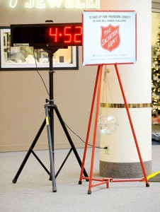 A time clock is set up in the Northbridge Mall to keep track of the amount of time Capt. Jim Brickson of the Albert Lea Salvation Army has spent bell-ringing. -- Brandi Hagen/Albert Lea Tribune