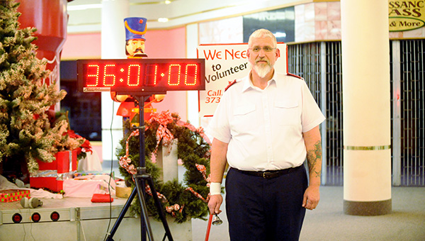 Salvation Army Capt. Jim Brickson surpassed the Minnesota record for bell-ringing at 11 p.m. Wednesday. The record of 36 hours and 1 minute was set in St. Cloud by Tiga Stevenson in 2011. -- Brandi Hagen/Albert Lea Tribune