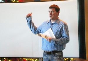Justin Hanson with the Cedar River Watershed District speaks Thursday during a presentation for bonding dollars in Albert Lea.