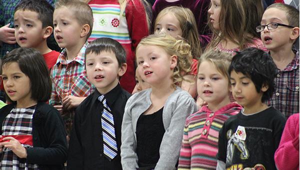 Students in kindergarten through third grade at Lakeview Elementary School perform in a Christmas concert Friday at Lakeview Elementary School. -- Sarah Stultz/Albert Lea Tribune