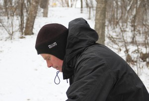 Dave Sime prepares to tee off Friday on Hole 5 at Oak Island Disc Golf Course in Albert Lea. He credits winter disc golf with helping him keep his weight under 200 pounds.