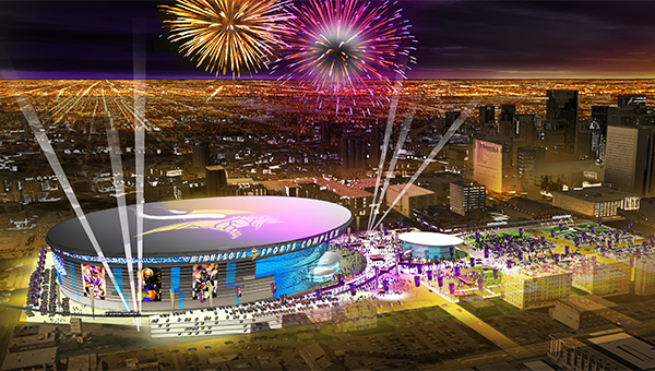 This is an architectural rendering of the view of downtown Minneapolis with a finished Vikings stadium. — Courtesy of Minnesota Vikings