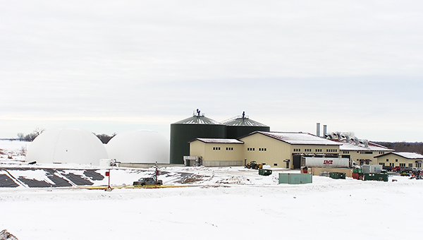 The Hometown BioEnergy plant in Le Sueur in southern Minnesota has started producing electricity over the past month. Located just south of town, it uses methane gas from decomposing corn waste and manure to make electricity. --Mark Steil/MPR