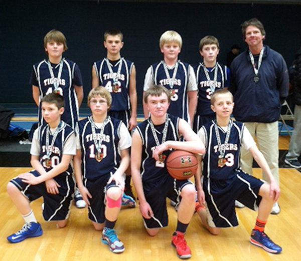 The Albert Lea seventh-grade traveling basketball team took second place Feb. 8 at the St. Peter Invitational. Front row from left are Dalton Larson, Brock Hammer, Parker Anderson and Scott Gilbertson. Back row from left are Drake Dawson, Isaac Moyer, Dylan Scherff, Spencer Doyle and coach Jeff Ehlenz. -- Submitted