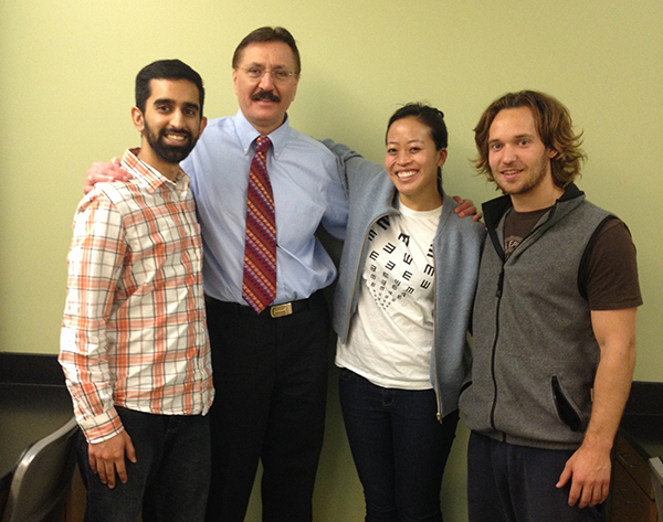 Dr. Leonid Skorin, second from left, stands with Celia Chao, medical student and event organizer, along with Touro University College of Osteopathic Medicine medical students. -- Submitted