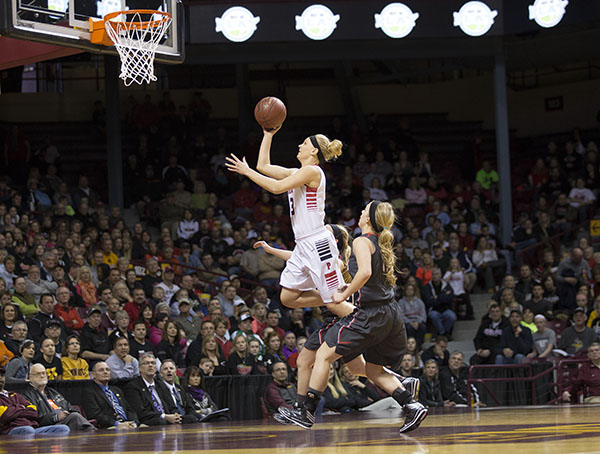 NRHEG's Carlie Wagner shoots a layup during the Class AA state championship on March 24 at Williams Arena in Minneapolis. NRHEG defeated Kenyon Wanamingo, 71-61, to win the state title for the second consecutive year. – Colleen Harrison/Albert Lea Tribune