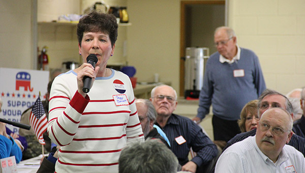 Peggy Bennett, an Albert Lea first-grade teacher, answers questions Saturday at the District 27A convention held at the Geneva Community Center. She won the Republican nomination on the second ballot. -- Tim Engstrom/Albert Lea Tribune