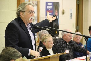 Milan Hart, an Albert Lea business owner, speaks to the 130 in attendance Saturday at the Geneva Community Center for the District 27A Republican Party convention. -- Tim Engstrom/Albert Lea Tribune