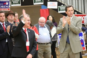 Republicans at the 1st District Republican Convention in Albert Lea on Saturday applaud state Rep. Mike Benson after he bowed out of the race for a seat in Congress.-- Tim Engstrom/Albert Lea Tribune