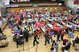 Participants march around the 1st District Republican Convention on Saturday in the gymnasium of Southwest Middle School in Albert Lea. -- Tim Engstrom/Albert Lea Tribune