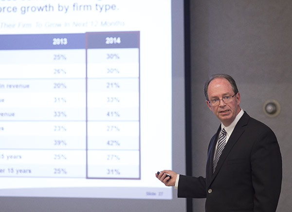 John Connelly, director of consulting for Enterprise Minnesota, speaks Monday at Freeborn-Mower Cooperative Services during a State of Manufacturing Survey briefing. – Colleen Harrison/Albert Lea Tribune