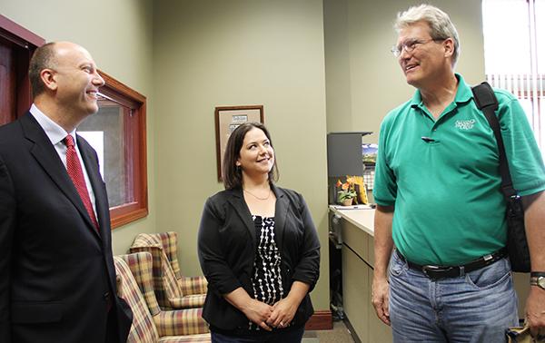 Mariah Lynne, center, and Roger Jogensen, right, of Alliance Benefit Group talk with gubernatorial candidate Marty Seifert on Tuesday. – Sarah Stultz/Albert Lea  Tribune