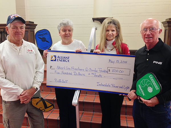 Alliant Energy donated $500 to the Albert Lea pickleball courts. From left, John Bauernfeind, Gail Levorson, Rebecca Gisel of Alliant Energy and Terry Adams. – Provided