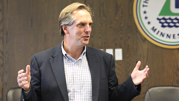 Republican U.S. Senate candidate Mike McFadden speaks Thursday during a campaign stop in Albert Lea in the City Council Chambers. — Sarah Stultz/Albert Lea Tribune