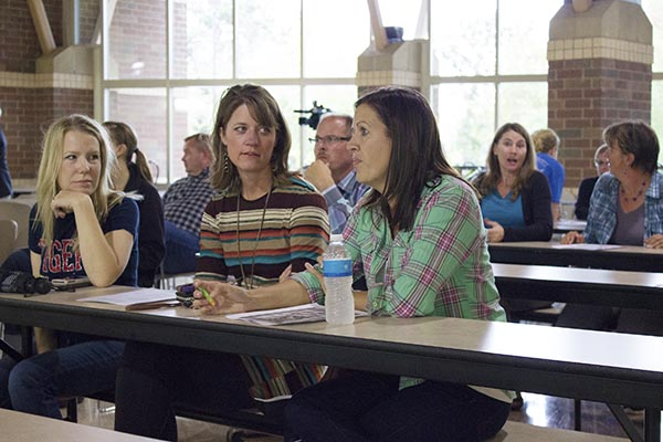 About 100 people attended the first public hearing on the proposed calendar, where they broke into groups and discussed positives and negatives. – Hannah Dillon/Albert Lea  Tribune