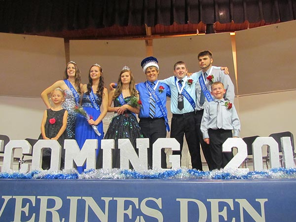 The Glenville-Emmons High School homecoming court is, from left, Kristen Hahn, Madisen Ziebell, Anna Severtson, Jalon Bangs, Colten Waldo and Marshal Hall. Crown bearers are Sophie Bottelson and Benett Grove. – Provided