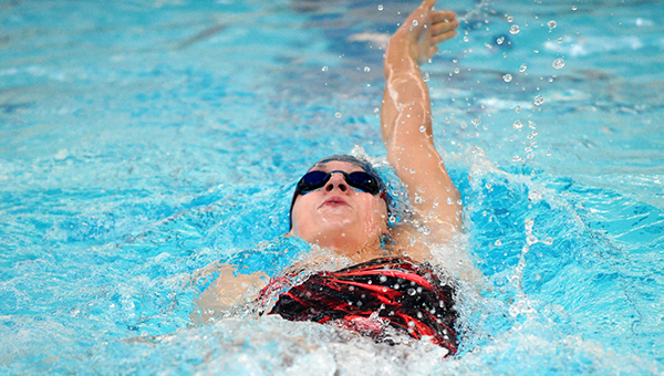 Lindsey Horejsi of Albert Lea swims the backstroke portion of the 200-yard individual medley Thursday on Parents' Night at Albert Lea High School. — Micah Bader/Albert Lea Tribune