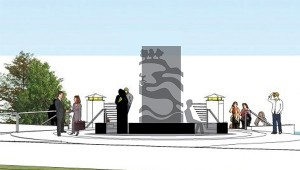 This rendering shows the sculpture submitted by Winona State University students. – Provided