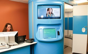 The kiosk will allow patients to be treated for acute care via teleconferencing. The Austin clinic is the pilot side for the Mayo Clinic Health Connection program and will begin by treating Mayo employees and dependents only later this month. – Jason Schoonover/Albert Lea Tribune