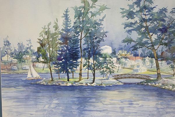 Steve Larson's watercolor painting  depicts a familiar sight in Albert Lea — Katherine Island. – Hannah Dillon/Albert Lea Tribune