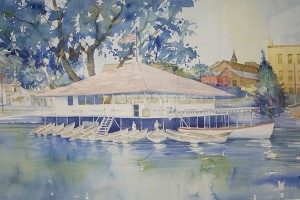 The boathouse at the north end of Broadway Avenue was a popular place for dances, and Steve Larson depicted it in one of his paintings of Albert Lea. – Hannah Dillon/Albert Lea Tribune