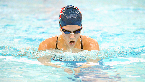 Anna Andersen of Albert Lea swims the breaststroke portion of the 200-yard individual medley on Oct. 2 against Mankato East. — Micah Bader/Albert Lea Tribune