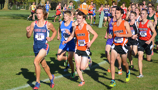 Jackson Goodell of Albert Lea runs Tuesday at the Big Nine Conference Meet at Brooktree Golf Course in Owatonna. Goodell was the conference champion with a time of 16:16. — Lon Nelson/For the Albert Lea Tribune