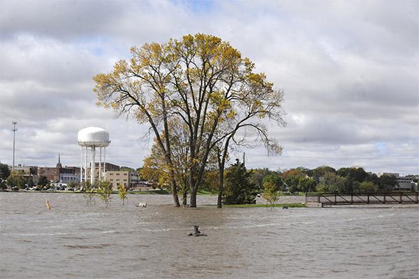 All of Fountain Lake's Katherine Island but the bridge landing is under water in September of 2010. — Tim Engstrom/Albert Lea Tribune