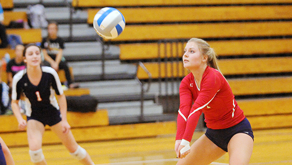 Kassandra Jansen of Albert Lea gets a dig on Sept. 30 against Rochester Century on Homecoming at Albert Lea High School. The Tigers will start the postseason in the first round of the Section 1AAA tournament at 7 p.m. Wednesday at Hastings. — Micah Bader/Albert Lea Tribune