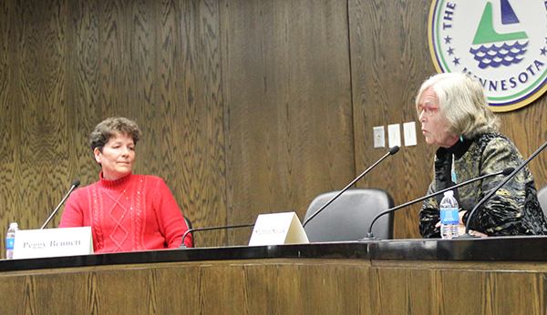 State Rep. Shannon Savick, right, responds to a question Tuesday during a debate organized by the Coalition of Greater Minnesota Cities at Albert Lea City Hall. On the left, challenger Peggy Bennett listens. – Cathy Hay/Albert Lea Tribune