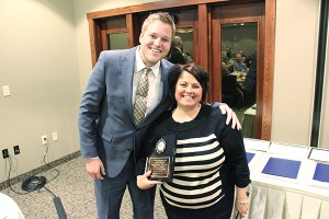 Kim Nelson of The Children's Center poses with Jon Murray of ISC Financial Advisors during the Albert Lea-Freeborn County Chamber of Commerce banquet Thursday. Nelson was prepared to give Volunteer of the Year award to Ryan Cafourek of Cafourek & Associates, but he couldn't be present. Murray accepted on Cafourek's behalf and gave a facetious acceptance speech. — Tim Engstrom/Albert Lea Tribune