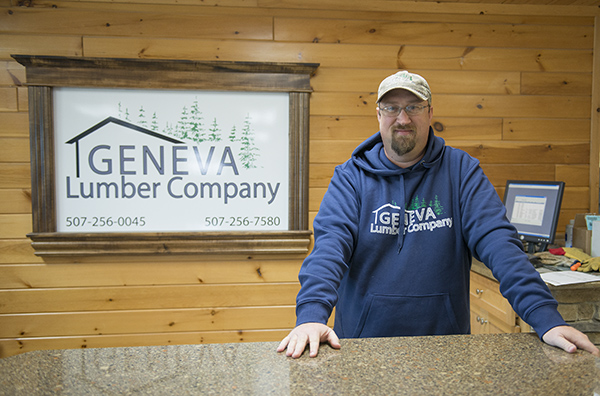 Jon Carlson owns Geneva Lumber Co. along with Tait Ingvaldson, not pictured, and has since December 2013. – Colleen Harrison/Albert Lea Tribune